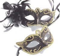 Black and Gold Flower Couples Masks
